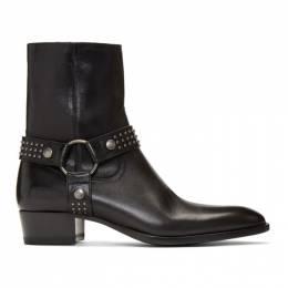 Saint Laurent Black Kangaroo-Look Wyatt Harness Stud Boots 57952400EYY