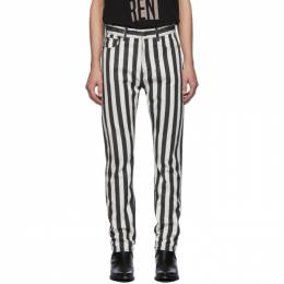Saint Laurent Black and White Straight-Cut Jeans 584475Y523V