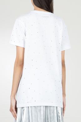 Белая футболка с отделкой из стразов P.a.r.o.s.h. 393145974
