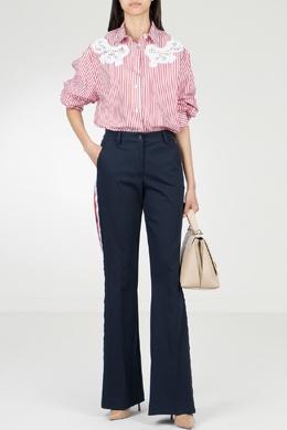 Расклешенные синие брюки с лампасами P.a.r.o.s.h. 393146018