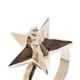 Chanel CC Star Gold Tone Ring Size 50.5 215435