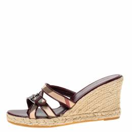 Burberry Burgundy Patent Leather And Nova Check Canvas Espadrille Wedge Sandals Size 40 215691