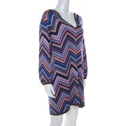 Missoni Multicolor Chevron Pattern Lurex Knit Short Dress L 216989