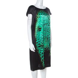 Just Cavalli Black Leopard Head Print Silk Short Dress L 217482