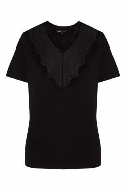 Черная футболка с кружевом Maje 888146251