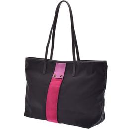 Prada Black/Pink Nylon And Leather Tote Bag