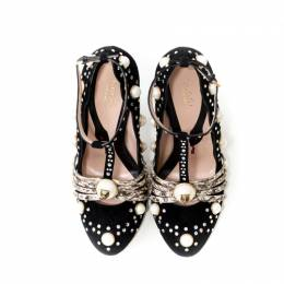 Gucci Black Suede/Snakeskin Faux Pearl and Crystal Embellished Ofelia T Strap Pumps Size 37 218387