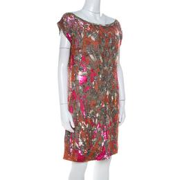 Mathew Williamson Orange and Pink Sequin Embellished Silk Shift Dress M Matthew Williamson 217768