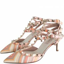 Valentino Native Couture 1975 Print Leather Rockstud Ankle Strap Sandals Size 37 218391