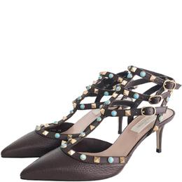Valentino Dark Brown Leather Rolling Rockstuds Ankle Strap Sandals Size 38 218390