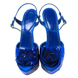 Sergio Rossi Blue Sequin Embellished Ankle Strap Platform Sandals Size 37.5 217753