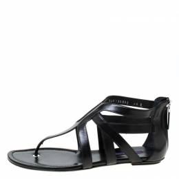 Ralph Lauren Black Leather T Strap Flat Sandals Size 40 217496