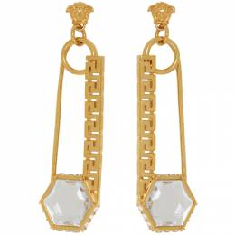 Versace Gold Safety Pin Earrings DG2H253 DJMX