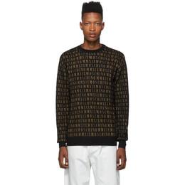 Moschino Black All Over Logo Crewneck Sweater 0923 5200