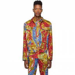 Moschino Multicolor Denim Roman Scarf Jacket 0607 5251