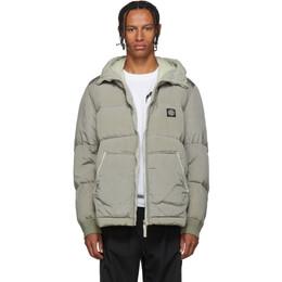 Stone Island Grey Down Hooded Puffer Jacket 192828M17804806GB