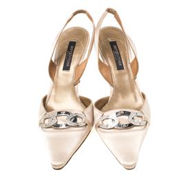 Sergio Rossi Beige Satin Crystal Embellished Pointed Toe Slingback Sandals Size 37.5 217477