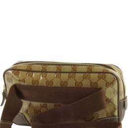Gucci Beige GG Canvas Leather Belt Bag 217698