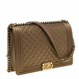 Chanel Gold Quilted Leather Large Boy Flap Bag 215179