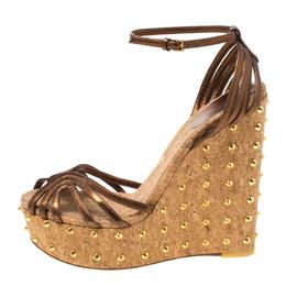 Gucci Brown Leather Studded Cork Wedge Platform Sandals Size 38
