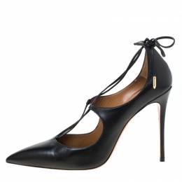 Aquazurra Black Leather Matilde Tie Up Pointed Toe Pumps Size 40 Aquazzura 215638
