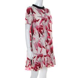 Marni Pink Floral Print Cotton Blend Zipper Detail Layered A Line Dress XS 217778