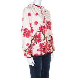 Moncler Cream Floral Printed Hooded Windbreaker Jacket M 217762