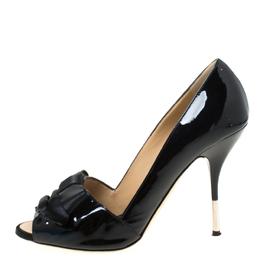 Giuseppe Zanotti Design Black Bow Satin and Patent Leather Peep Toe Pumps Size 38 216504
