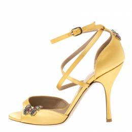 Valentino Yellow Satin Crystal Embellished Butterfly Ankle Strap Sandals Size 37.5 216988