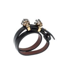 Alexander McQueen King Queen Skull Embellished Black Leather Double Wrap Bracelet 218573