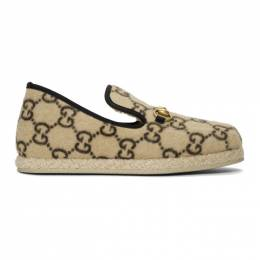 Gucci Beige Fria Covered Wool GG Loafers 192451M23100205GB