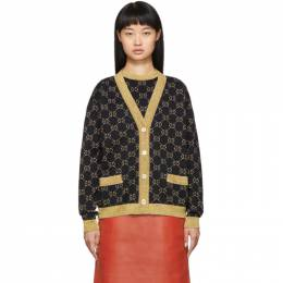 Gucci Black and Gold Lurex GG Cardigan 529193 X9W83