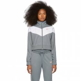 Nike Grey and White Cropped Colorblocked Track Jacket CD4147-065