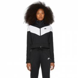 Nike Black and White Cropped Colorblocked Track Jacket CD4147-010