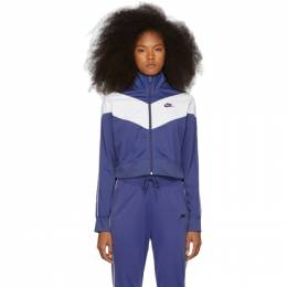 Nike Navy and White Cropped Colorblocked Track Jacket CD4147-469