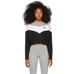 Nike Black and White Cropped Colorblocked Sweatshirt BV4954-010