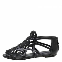 Ralph Lauren Collection Black Leather Cut Our Flat Sandals Size 37 218525