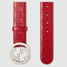 Gucci Red Guccissima Leather Belt Size 100CM 219453