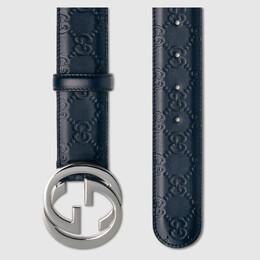 Gucci Blue Guccissima Leather Belt Size 90CM 219457