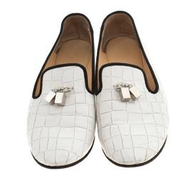 Giuseppe Zanotti Design White Croc Embossed Leather Smoking Slippers Size 39 218536