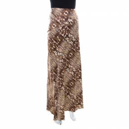 Just Cavalli Brown Snake Print Silk Satin Flared Maxi Skirt M 218061