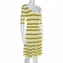 M Missoni Lime Green Chevron Patterned Knit Skater Dress M 218385