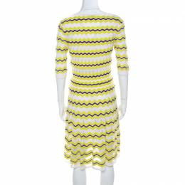 M Missoni Lime Green Chevron Patterned Knit Skater Dress M 218385