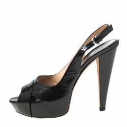 Sergio Rossi Black Patent Leather Slingback Platform Sandals Size 38 218128