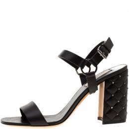 Valentino Black Leather Rockstud Spike Block Heel Sandals Size 37 218732