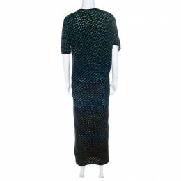 M Missoni Multicolor Wool Blend Dobby Knit Short Sleeves Maxi Dress S 218564