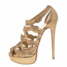 Christian Louboutin Gold Strappy Leather Ankle Strap Platform Sandals Size 39 217651