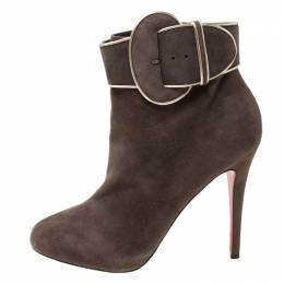 Christian Louboutin Elephant Grey Suede Trottinette Buckle Detail Ankle Boots Size 40 217466