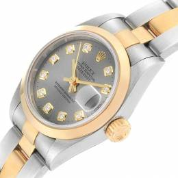 Rolex Slate 18K Yellow Gold and Stainless Steel Datejust 69163 Women's Wristwatch 26MM 219117