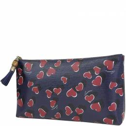 Gucci Navy Blue Leather Bamboo Heart Pattern Clutch Bag 218197
